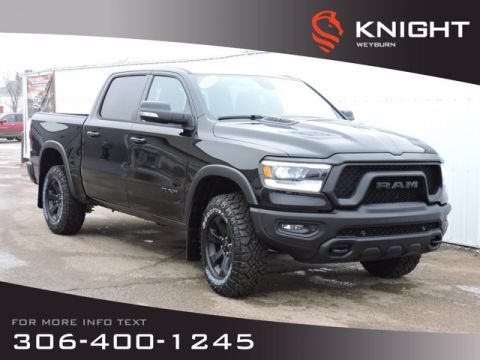 New 2020 Ram 1500 Rebel Black Crew Cab 4x4 HEMI | Heated Seats & Steering Wheel | Remote Start | Back-up Camera